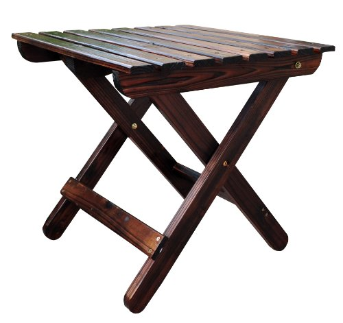 Shine Company Adirondack Square Folding Table, Burnt Brown (Folding Wooden Outdoor Table)