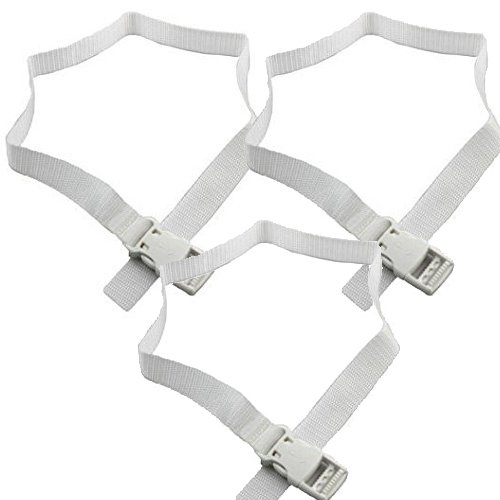 Toddler Table Replacement Seat Belt Set of 3, White