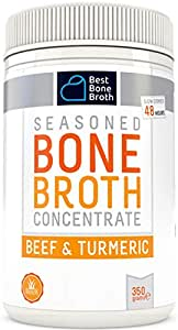 Premium Beef Bone Broth Concentrate Turmeric Flavor - Maximized Nutrition Bone Broth On The Go - No Hormones or Additives, Delicious Natural Flavor, Sourced From AU & NZ Beef - Beef Broth