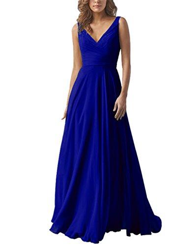 Yilis Double V Neck Elegant Long Bridesmaid Dress Chiffon Wedding Evening Dress Royal Blue US6
