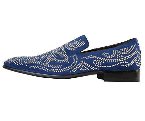 Asher Green Mens Gold Studded Smoking Slipper, Nightclub Slip-On Tuxedo Dress Shoe, Style AG9392 Navy