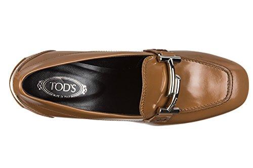 Tod's decolletes decoltè scarpe donna con tacco pelle t70 zm maxi doppia t marro