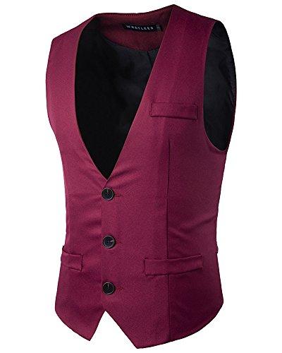 Homme Rouge Veste Élégant Vin V Mince Manche Casual Col Gentilhomme Costume Sans Gilet Shifan wBq6pw