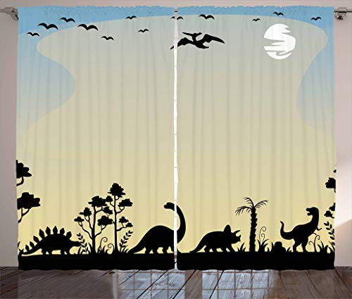 Lunarable Nursery Curtains, Dinosaurs in Fauna Graphic Illustration Extinct Animals Sunset Prehistoric Time, Living Room Bedroom Window Drapes 2 Panel Set, 108 W X 63 L Inches, Sand Brown (Panels Graphic Curtain)