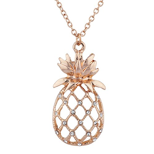 Lux Accessories Rose Gold Tone Cutout Tropical Fruit Pineapple Pendant Necklace