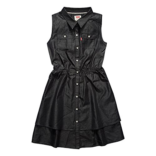 Levi's Little Girls Sleeveless Dress, Washed Black, 6]()