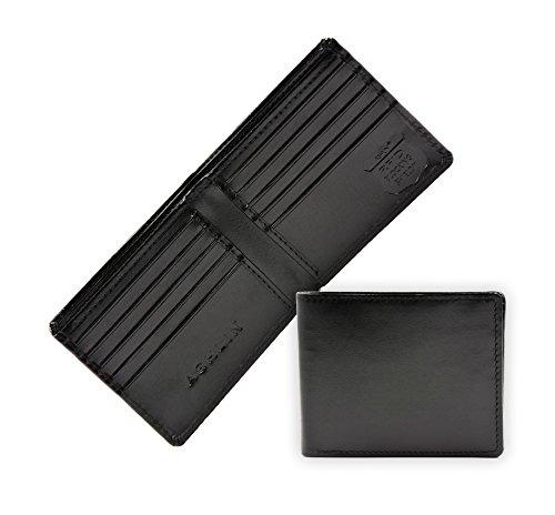 Ashlin RFID Blocking Mens BI-fold Wallet - Genuine VEGAN Leatherette, Lined Currency Compartment, 10 Card Pockets - Keeps Your Identity Safe, Blocks Electronic Pick Pocketing [RFID5728-00-01]