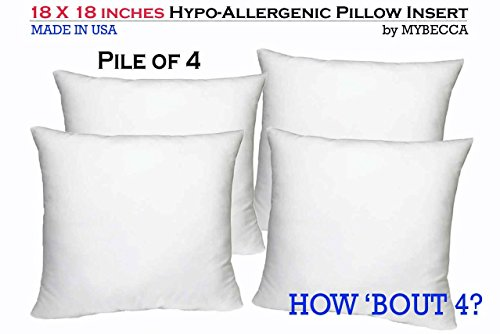 pile of 4 by mybecca 18 x 18 inches pillow insert hypoallergenic sham stuffer in polyester. Black Bedroom Furniture Sets. Home Design Ideas
