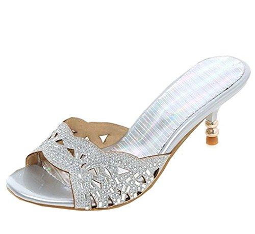Sandalo Open Toe Slip On Con Strass Argento