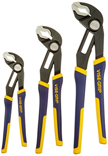 Quick Grip Locking Pliers - IRWIN Tools VISE-GRIP GrooveLock Pliers, V-Jaw, 3-Piece Set (2078710)