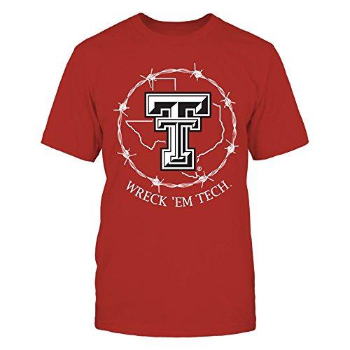 (FanPrint Texas Tech Red Raiders T-Shirt - Texas Symbol Circle - Men's Tee/Red/L)