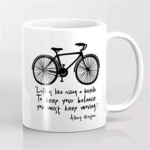 Life is like riding a bicycle. Coffee Mug,Sports Bike Bicycle Mug,Balance Life Keep-moving Motivational Mug
