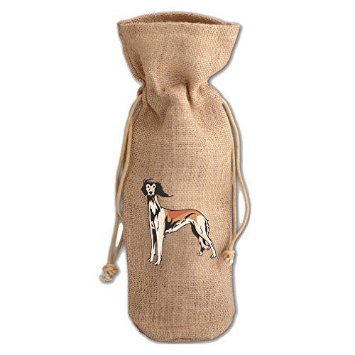 Burlap Wine Drawstring Bag Saluki By Style In Print