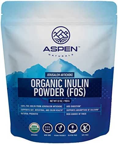 Organic Inulin from Jerusalem Artichoke - Premium Fiber Supplement, Natural Prebiotic Powder, Aids Digestion, Supports Gut, Intestinal, and Colon Health, Easily Mix in Hot & Cold Drinks, Baked Goods