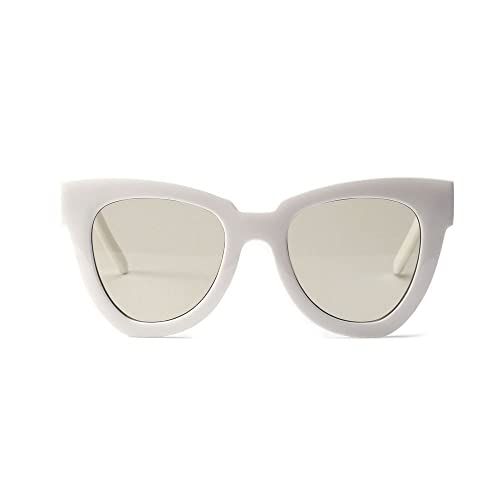 ade68b38fa57a7 Amazon.com  Women s Oversized Lens Cat Eye Sunglasses White Frame  Grey+Green Lens  Shoes