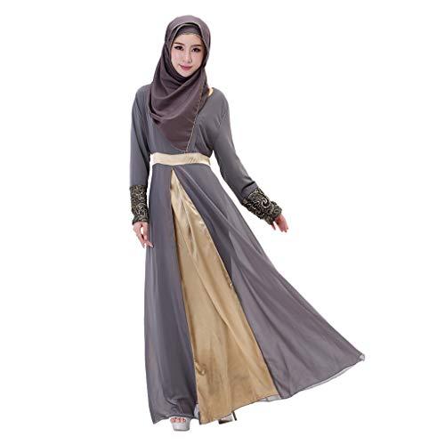 (Fiaya Women's Muslim Dress Bandage Long Maxi Dress Dubai Double Layer Loose Gown Islam Abaya Muslim Clothing (L,)