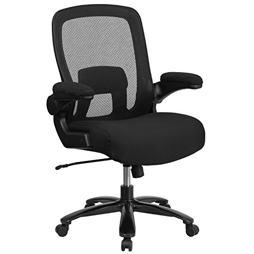 (Flash Furniture HERCULES Series Big & Tall 500 lb. Rated Black Mesh Executive Swivel Chair with Fabric Seat and Adjustable Lumbar)
