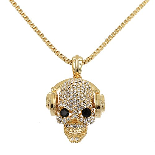 Uniqsum Sparkling Cubic zirconia Headphone Skull Necklace Box Chain (Skull Chain)