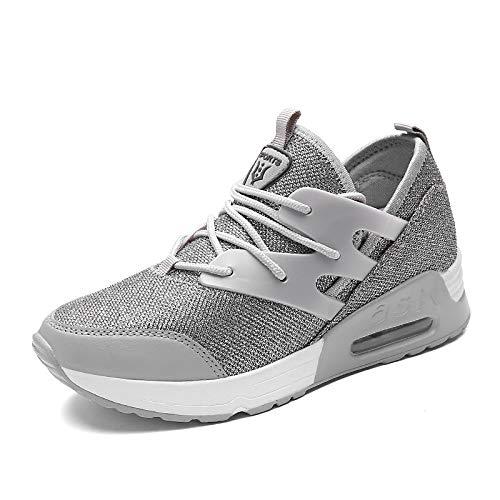 ZHZNVX Zapatos de Mujer Nappa Cuero/Tul Primavera/Verano / Otoño Comfort Flats Zapatos para Caminar Talón Plano Punta Redonda Junta Dividida Negro/Gris / Rosa Pink