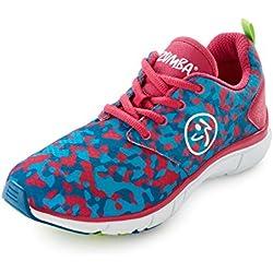 Zumba Women's Fly Print Dance Shoe, Tropic Pink/Blue, 5 M US