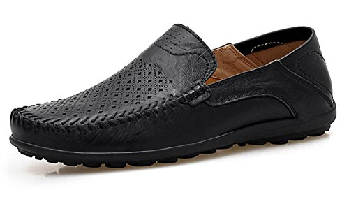 Style Loafer Shoes Dress Black - Go Tour Men's Premium Genuine Leather Casual Slip On Loafers Breathable Driving Shoes Fashion Slipper Black Punched 40