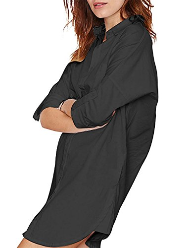 Hodoyi Lapel Botton Boyfriend Women Dress Long Shirt Sleeves Black Down Longline HrHTYq