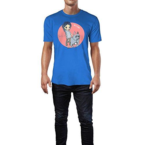 SINUS ART® Kleines Mädchen mit Bulldogge Herren T-Shirts in Blau Fun Shirt mit tollen Aufdruck