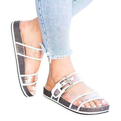 Syktkmx Womens Clear Double Strap Slides Slip on Flat Platform Buckled Cork Sandals - Strap Clear Sandals