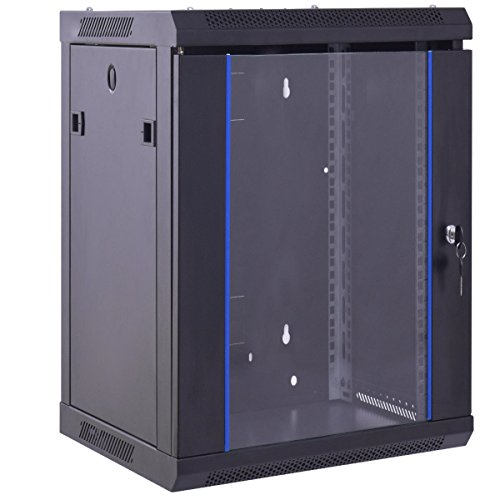 Safstar Wall Mount IT Network Server Cabinet Enclosure Data Devices Rack (18U, Tempered Glass Type)