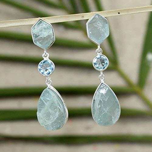 Wedding Earring Gift for Her Topaz Earring Blue Topaz Earring Solid 925 Sterling Silver Topaz Jewelry Handmade Earring Dangle Earring