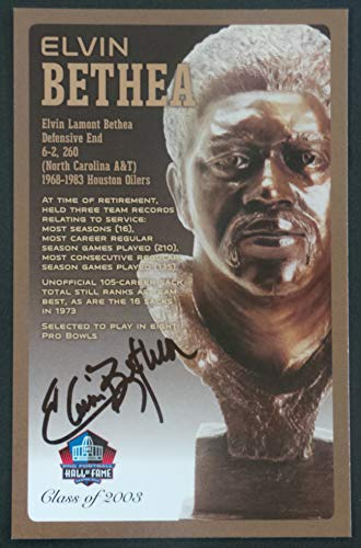 PRO FOOTBALL HALL OF FAME Elvin Bethea Signed Bronze Bust Set Autographed Card NFL Houston Oilers Superstar! (Limited Edition #/150)