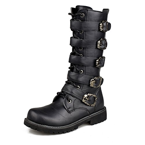 Santimon Men's Western Motorcycle Combat Martin Boot Side Zip Locker Studded Rivet Outdoor Pointed Boots Fashion Punk Black
