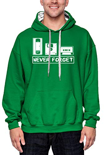 Never Forget - Cassette VHS Floppy Disk Unisex 2-Tone Hoodie Sweatshirt (Kelly Green/White Strings, XX-Large)