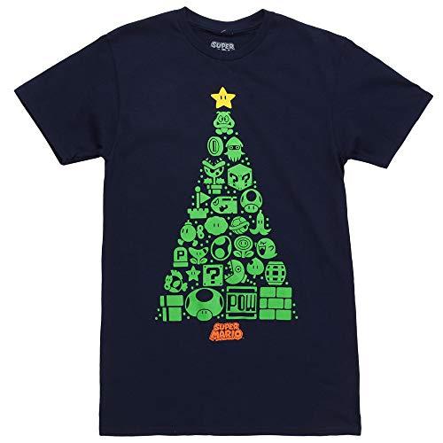 Nintendo Icons Holiday Christmas Tree Adult T-Shirt - Navy (Medium)