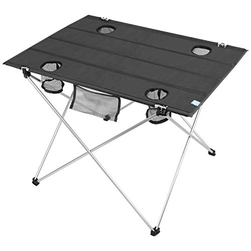 YOUMILE Lightweight Folding Camping Table, Portable Foldable Camp Picnic Table with Cup Holders, Roll-up with Carry Bag, 1680D Oxford Fabric Table Top and Aluminum Alloy Frame for Picnic, BBQ, Beach