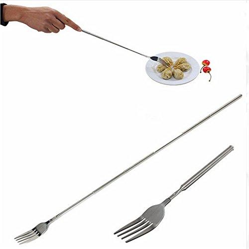 Whitelotous Stainless Steel Telescopic Fork Dinner Fruit Telescopic Table Ware, Extendable to 64cm