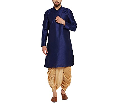 Dhoti Kurta (Sojanya Men's Dupion Silk Dhoti Kurta Set Blue Large Royal Blue and Gold)