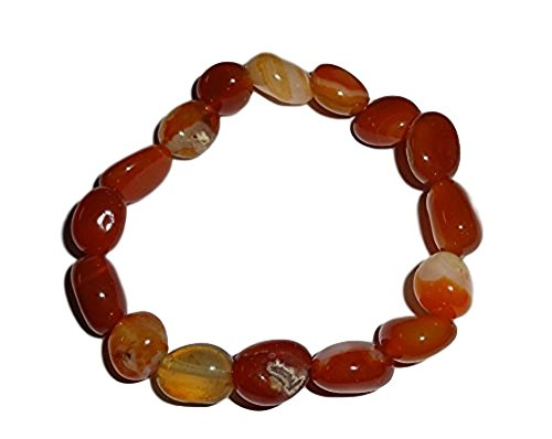 - 1pc Fire Agate Premium Quality Tumbled Crystal Healing Gemstone 6-8 mm Nugget Beaded Stretch Bracelet