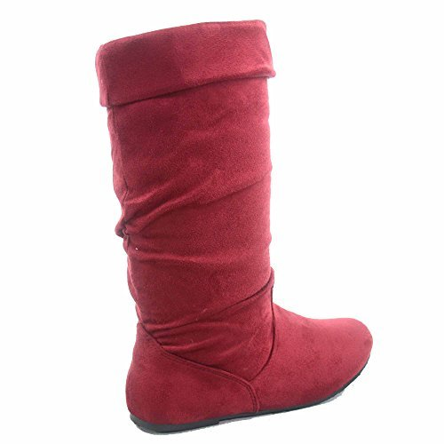 Forever Link Jolyn-9 Women's Cute & Comfort Round Toe Flat Slouchy Mid Calf Boot Shoes (6 B(M) US, Wine)