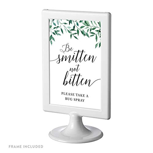 Andaz Press Framed Wedding Party Signs, Natural Greenery Green Leaves, 4×6-inch, Be Smitten Not Bitten Please Take a Bug Spray, 1-Pack, Includes Reusable Photo Frame
