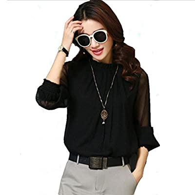 WM&MW New Women Blouse Chiffon Elegant Loose Ruffles Stand Neck Long Sleeve Office Shirt Tops