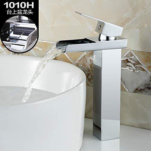 JingJingnet 流域ミキサータップ浴室のシンクの蛇口ウィンザーウェールズフル銅滝盆地冷たい水シングルホール洗面台の蛇口 (Color : 1010h High) B07S4L1WH9 1010h High