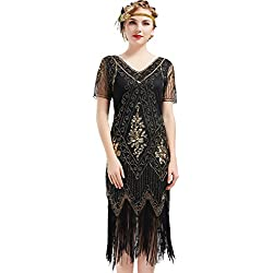 BABEYOND 1920s Art Deco Fringed Sequin Dress Roaring 20s Flapper Fancy Dress Gatsby Costume Dress Vintage Beaded Evening Dress (Black and Gold, X-Large)