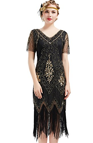 BABEYOND 1920s Art Deco Fringed Sequin Dress Roaring 20s Flapper Fancy Dress Gatsby Costume Dress Vintage Beaded Evening Dress (Black and Gold, X-Large) -