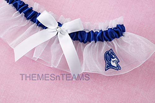(Customizable - Duke University Blue Devils fabric handmade into bridal prom white organza wedding keepsake garter with white handtied bows)