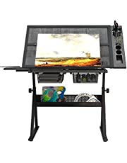 DlandHome Glass Drafting Table Adjustable Drawing Table Craft Station Center With 2 Storage Drawers and Storage Shelf DCA-CZKLD-027