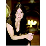 Charmed 8x10 Photo Shannen Doherty/Prue Halliwell Black Satin Dress Fireplace in Background kn