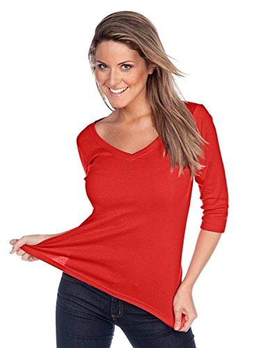 Kavio! Women V Neck 3/4 Sleeve Top Red 2XL