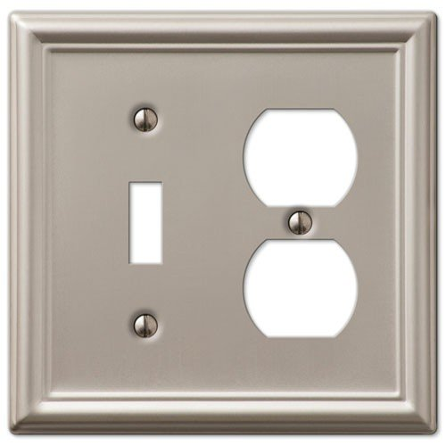 (Decorative Wall Switch Outlet Cover Plates (Brushed Nickel, Toggle Duplex))