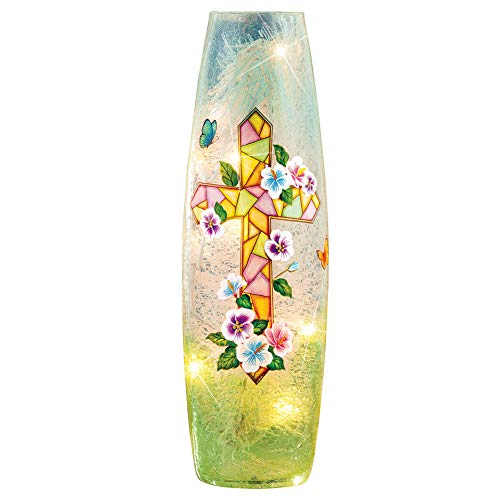 Collections Etc Bright Easter Mosaic Cross with Flowers Cracked Glass Hurricane Lamp - Home Décor for Any Room